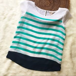Banana Republic White & Green Stripe Sheer Shirt
